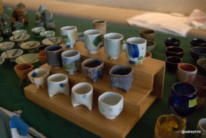 A variety of sake cups from the Honolulu Potters Guild